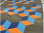 cubed coloured pavement artwork